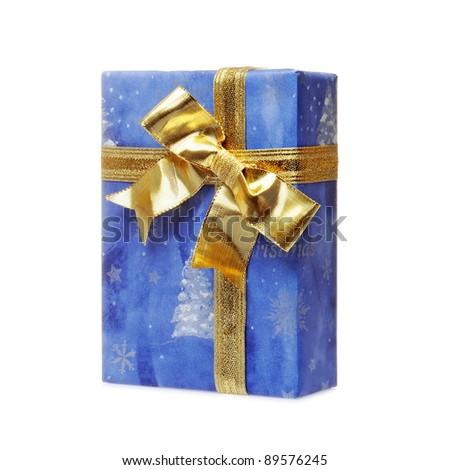 Single blue gift box with yellow ribbon on white background. - stock photo