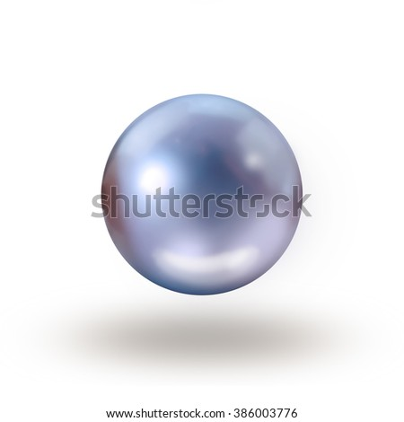 Single blue pearl isolated on white with drop shadow