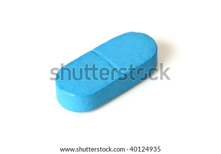 Single blue pill isolated on white - stock photo