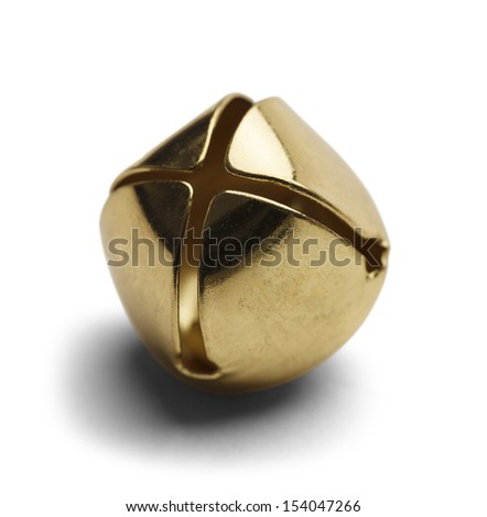 Single Brass Christmas Bell Isolated on White Background. - stock photo