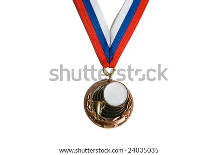 Single bronze medal with white-blue-red ribbon. Copy space inside the medal. Isolated on white background