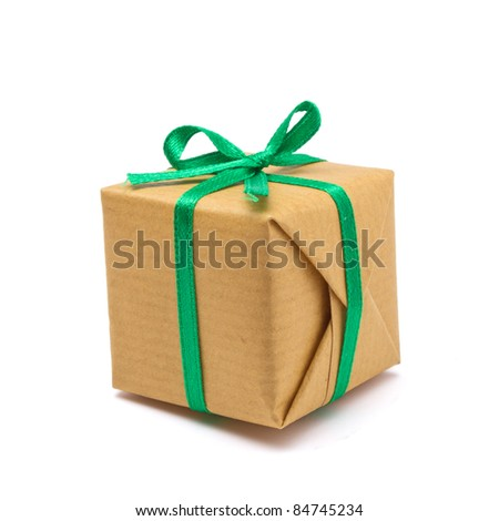 Single brown paper covered Gift box isolated on white background. - stock photo