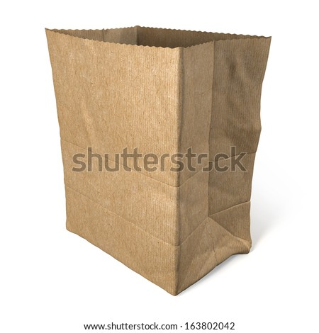 Single brown, recycled paper shopping bag, 3d rendering isolated on white background - stock photo