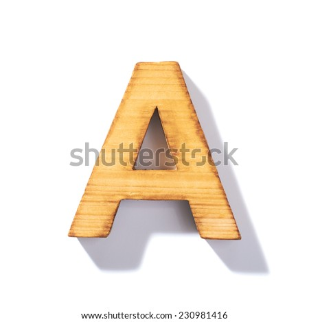 Single brown wooden A letter with 45 degree long shadow as a real life flat design font, isolated over the white background - stock photo