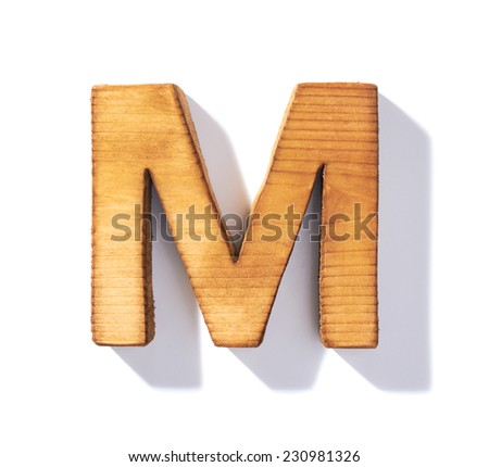 Single brown wooden M letter with 45 degree long shadow as a real life flat design font, isolated over the white background - stock photo
