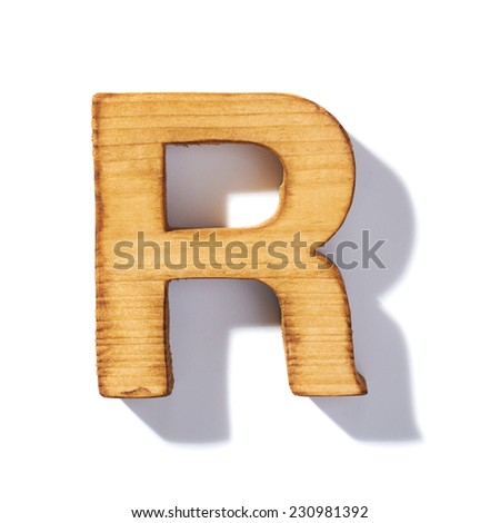 Single brown wooden R letter with 45 degree long shadow as a real life flat design font, isolated over the white background