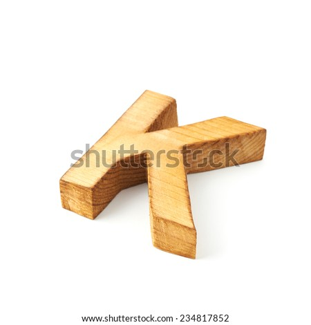 Single capital block wooden letter K isolated over the white background