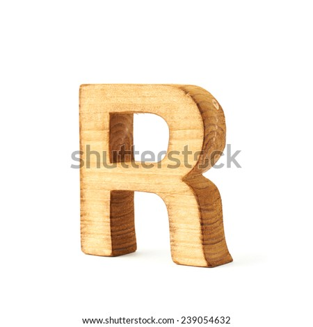 Single capital block wooden letter R isolated over the white background