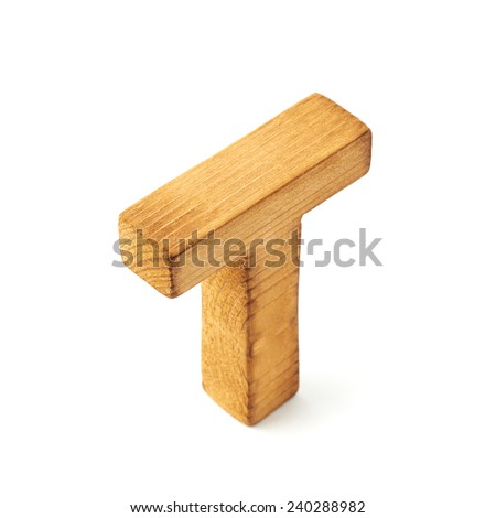 Single capital block wooden letter T isolated over the white background
