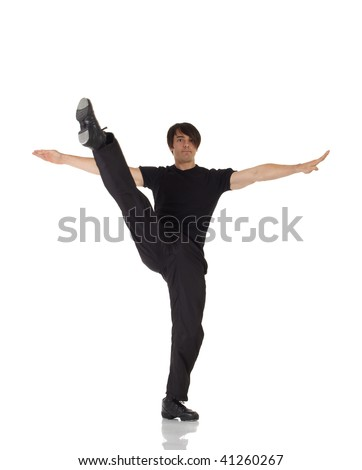 Single Caucasian male tap dancer wearing black pants showing various steps in studio with white background and reflective floor. Not isolated