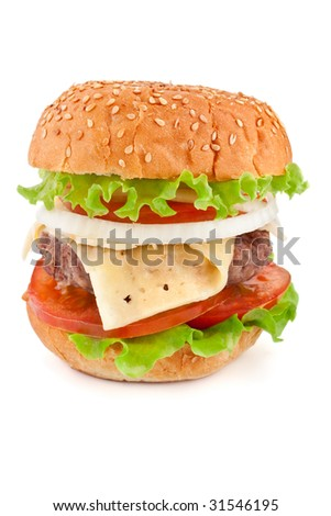 single cheeseburger on white background