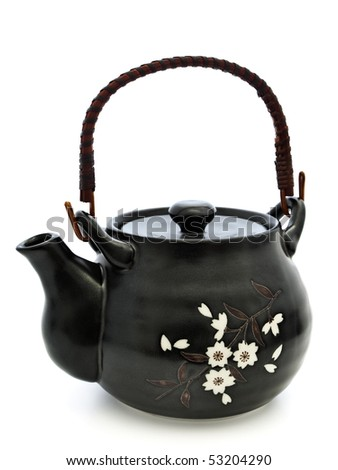 Single china teapot for chinese tea ceremony over white background