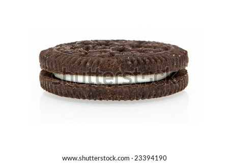 single chocolate cream oreo cookie over white background