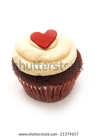 single chocolate cupcake with vanilla icing and a red heart - stock photo