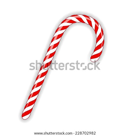 Single Christmas Candy cane  isolated on White