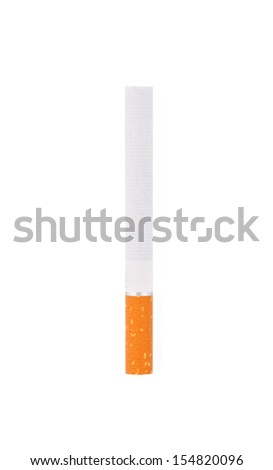 Single cigarette isolated on white - stock photo