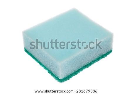 Single cleaning sponge isolated on white background. - stock photo