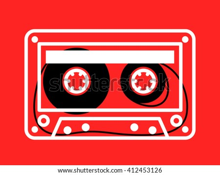 Single clear white outlined cassette with loose recording tape on spindles over red background - stock photo