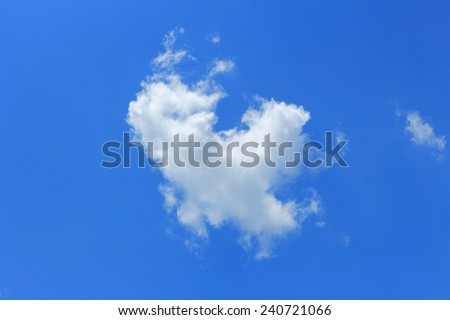 single cloud fly on the sky in very hot day