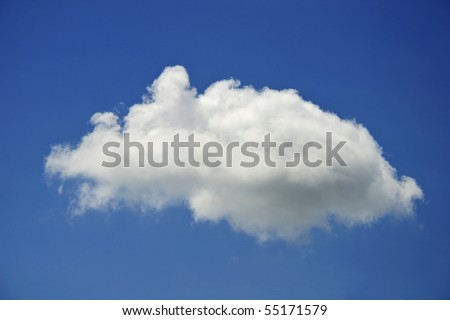 single cloud on blue sky - stock photo