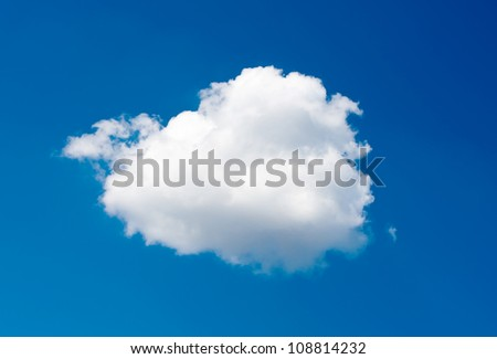single cloud on blue sky background - stock photo