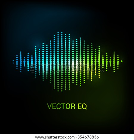 Single colorful eq, equalizer element isolated on dark background. Vector sound audio wave, frequency, melody, soundtrack in night for dance electronic disco music