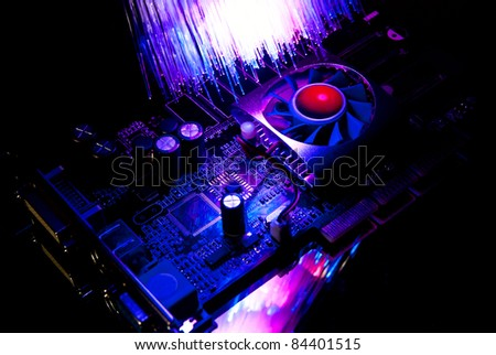 Single computer video-card with fiber optics background