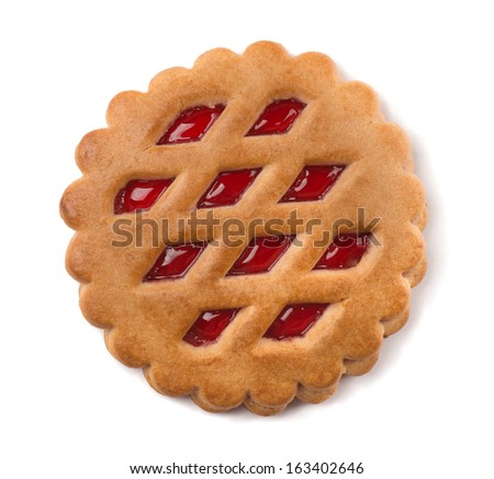 Single cookie with fruit jam filling isolated on white - stock photo