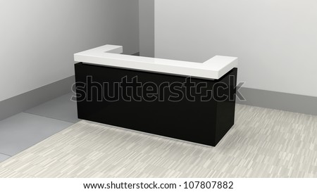 single counter in abstract interior - stock photo