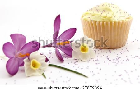 Single Cupcake With Purple Sprinkles, Focus On The Cupcake - stock photo