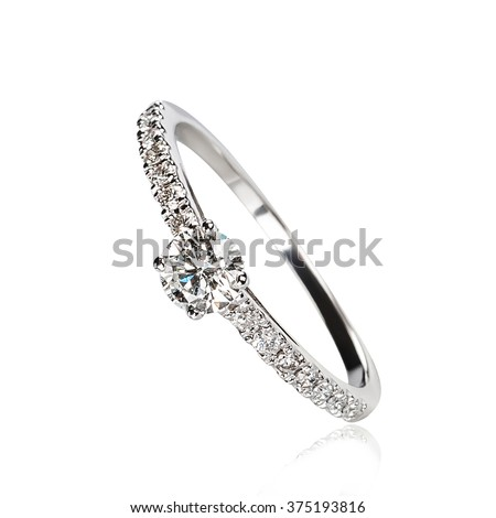 Single diamond ring isolated on white background