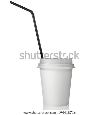 Single Disposable cup for hot drinks with  top and black straw  isolated on white background - stock photo
