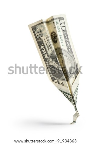 single dollar banknote crash on white background - stock photo