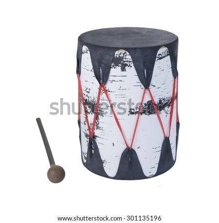 Single Drum with stretched skin over a tree bark frame - path included - stock photo