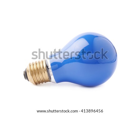 Single electric blue bulb lying on its side, isolated over the white background - stock photo