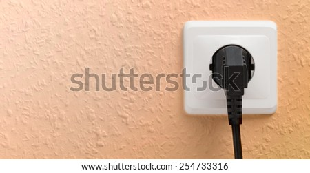 Single electric socket with plug on wall