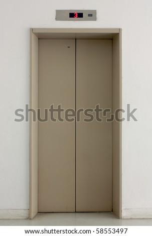 Single Elevator Door - stock photo