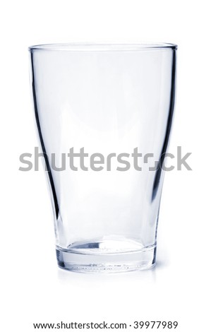 Single empty drinking glass isolated on white background