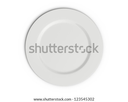 Single empty plate, top view, isolated on white background.