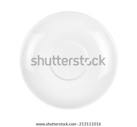 Single Empty White Plate, Isolated on White Background, without Shadows