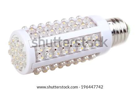 Single energy-saving LED lamp isolated on white background. Studio photography. - stock photo