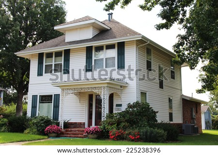 Single family house in middle of America - stock photo