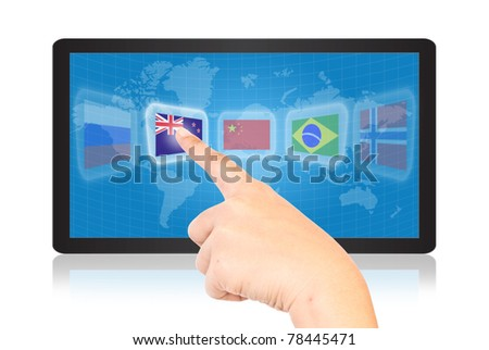 Single finger pressing flag on tablet.