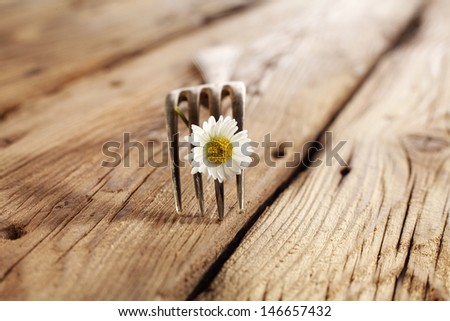 single fork and flower  - stock photo