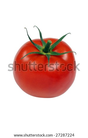 Single fresh isolated tomato on white background