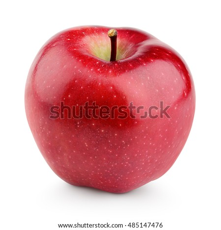 Single fresh red apple with stem isolated on white background with clipping path