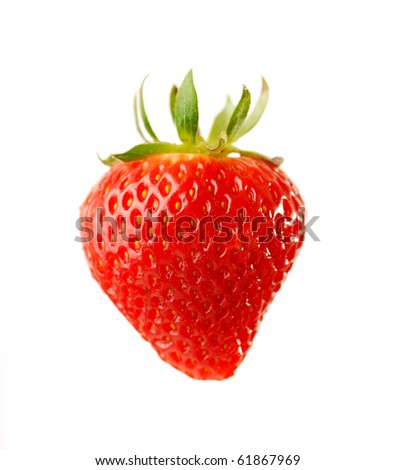 single fresh red strawberry on white background - stock photo