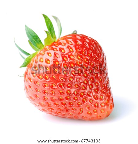 single fresh red strawberry on white background