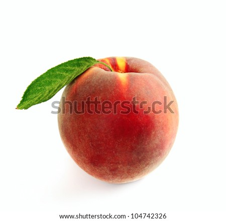 Single fresh ripe peach with leaf isolated on white - stock photo
