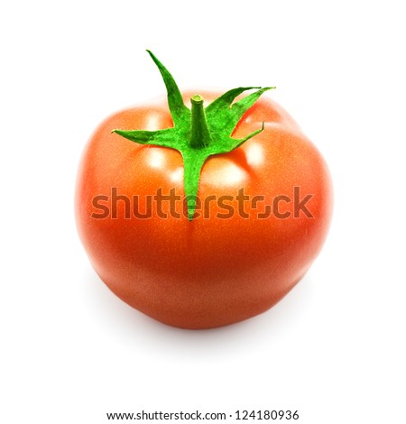 single fresh tomato with shadow on white background
